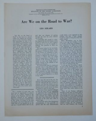 Are We on the Road to War? [ Offprint Issue ]. Leo Szilard