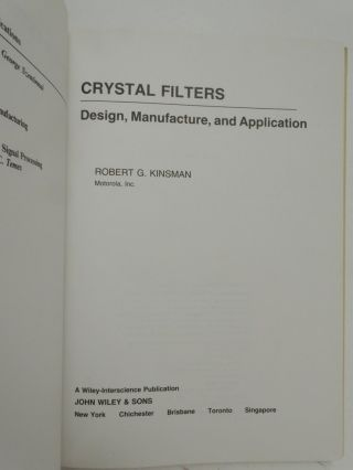 Crystall Filters Design, Manufacture, and Application