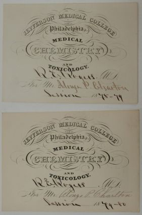 Pair of Chemistry lecture tickets for the 1878 and 1879 sessions of Doctor R. E. Rogers for student Alonzo P. Charlton. Jefferson Medical College of Philadelphia, Alonzo P. Charlton, Dr. Robert E. Rogers.