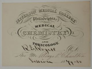 Pair of Chemistry lecture tickets for the 1878 and 1879 sessions of Doctor R. E. Rogers for student Alonzo P. Charlton