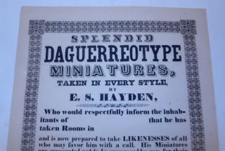 SPLENDID DAGUERREOTYPE MINIATURES, TAKEN IN EVERY STYLE, BY E.S. HAYDEN [caption title and text]