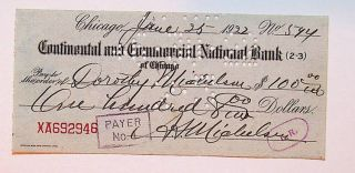 Signed check by Albert A. Michelson, Nobel Laureate in Physics, to his daughter Dorothy for $100....