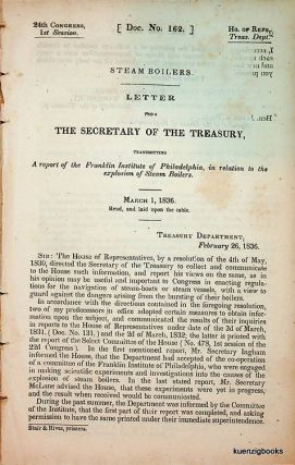 LETTER FROM THE SECRETARY OF THE TREASURY, TRANSMITTING A REPORT OF THE FRANKLIN INSTITUTE OF...