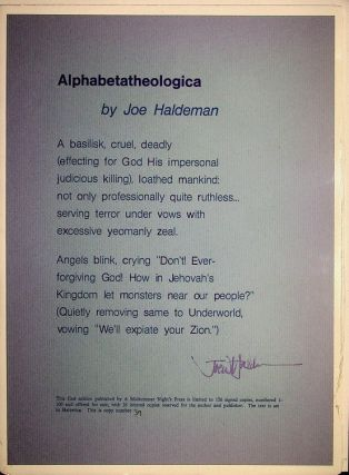 Alphabetatheologica [A POETRY BROADSIDE]. Joe Haldeman