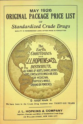 May 1926 Original Package Price list of Standardized Crude Drugs. J. L. Hopkins, Company