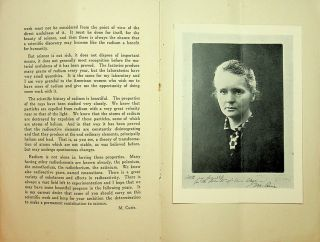 The Discovery of Radium. Address by Madame M. Curie at Vassar College May 14, 1921. Ellen S. Richards Monographs no. 2 Published by Vassar College