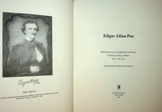 Edgar Allan Poe: Writings in the Broadway Journal NONFICTIONAL PROSE Part 1, The Text. Burton R....