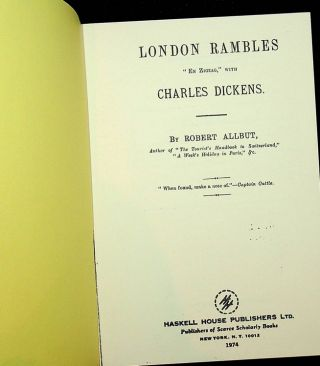 "London Rambles ""En ZigZag,"" with Charles Dickens. Robert Allbut"