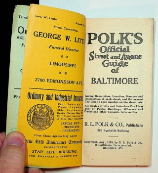 POLK's Official Street and Avenue Guide of Baltimore ... Giving Description, Location, Number and intersection of each street, and the nearest Car Line to each number on the street, etc. All Routes of City and Suburban Car Lines and of Public Buildings, Wharves and Docks and other Valuable Information