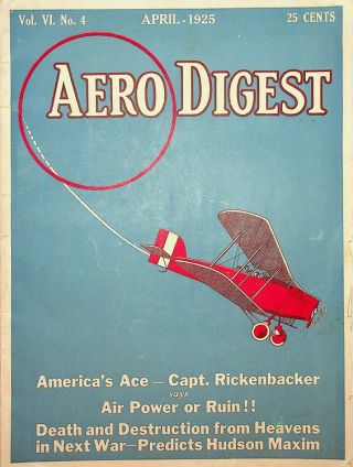 Aero Digest Vol VI., No. 4 April 1925. J. E. Horsfall