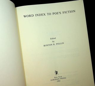 Word Index to Poe's Fiction [ Poe, Edgar Allan ]. Burton R. Pollin, Edgar Allan Poe