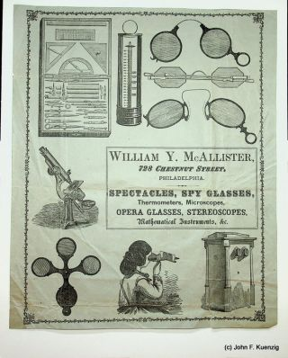 Advertising Broadside ] William Y. McAllister ... Spectacles, Spy Glasses, Thermometers,...