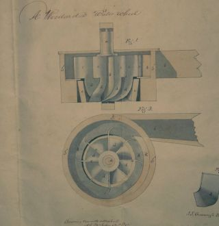 "American Scientific Patent No 2622 ] for ""Improvement in Water Wheels"" May 12, 1842. Abijah Woodard"