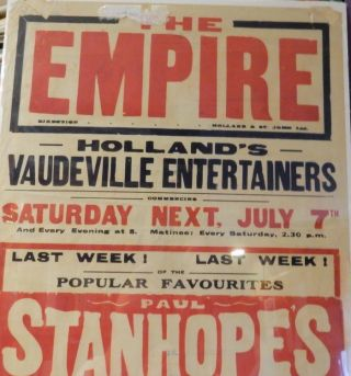[ Vaudeville Broadside ] THE EMPIRE ... Direction Holland & St. John Ltd ... Holland's Vaudeville Entertainers ... Paul Stanhope's .. Roley-Poley ... Ford & Perrin ... Clemo the Clever ... McKay & Graham ... Jolly Johnny Larkin the Clever Coloured Comedian ... Blake & Granby ...