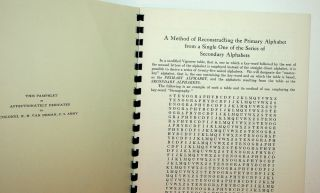 Riverbank Publications No. 15 : A Method of Reconstructing the Primary Alphabet from a Single One of the Series of Secondary Alphabets