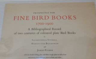 Prospectus for Fine Bird Books 1700-1900 A Bibliographical Record of two centuries of coloured plate Bird Books