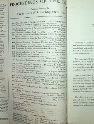 Proceedings of the I.R.E. Vol. 40, no. 11 (November 1952). THE TRANSISTOR ISSUE