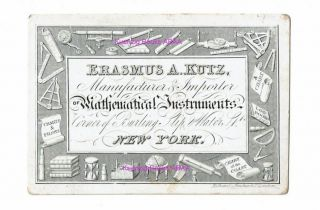 Ephemera, Trade Cards ] Advertising Card for Mathematical Instruments manufactured and imported...
