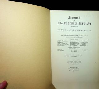Journal of the Franklin Institute, Vol 211, Nos 1261-1266, January-June 1931. Howard McClenahan