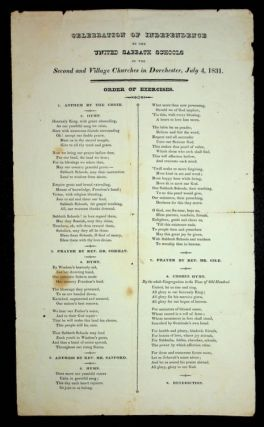 Broadside ] Celebration of Independence by the United Sabbath Schools of the Second and Village...