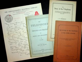 Small collection of items (offprints, pamphlet, ALS) by early telephone historian John E....