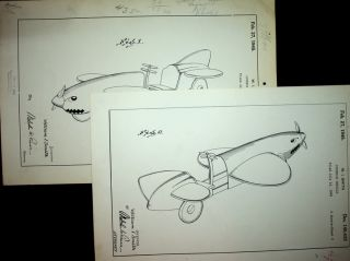 "Original art, Design Patent ] DESIGN PATENT 140,435 ""Juvenile Vehicle"" patented Feb 27, 1945. W...."