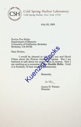 TLS from James D. Watson to Evelyn Fox Keller regarding his work. James D. Watson