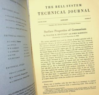 Surface Properties of Germanium IN The Bell System Technical Journal Volume XXXII Jan 1953, Number 1