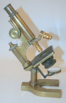 artifact, microscope ] Brass microscope, unsigned but Bausch and Lomb body Serial number 43899....
