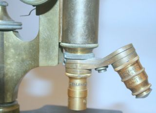 [ artifact, microscope ] Brass microscope, unsigned but Bausch and Lomb body Serial number 43899