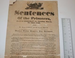 [Broadside] Sentences of the Prisoners, Tried at BODMIN, on Tuesday March, the 26th 1839 before Mr. Baron Gurney and Mr. Justice Maule.