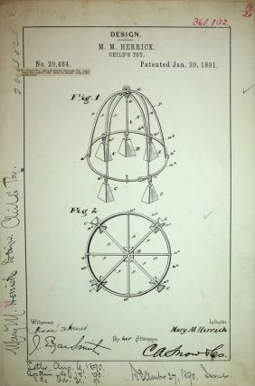 "Original art, Design Patent ] DESIGN PATENT 20,484 ""Design for a Child's Toy"" patented January..."