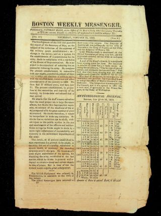 Twenty two issues of the Boston Weekly Messenger from 1818 and 1819