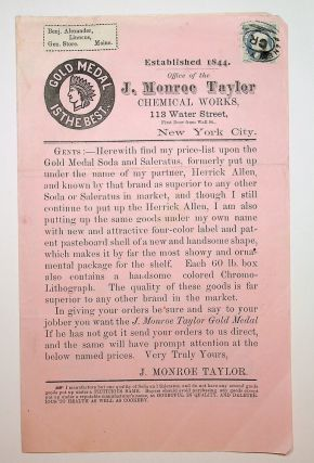 ephemera, food related ] Gold Medal is the Best : Established 1844. Office of J. Monroe Taylor...