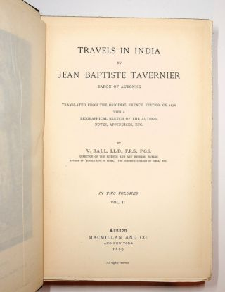 Travels in India by Jean Baptiste Tavernier Baron of Aubonne in Two Volumes Vol. II [ ONLY ]