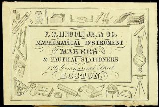 Ephemera, Trade cards ] F. W. Lincoln Jr. & Co. MATHEMATICAL INSTRUMENT MAKERS & NAUTICAL...