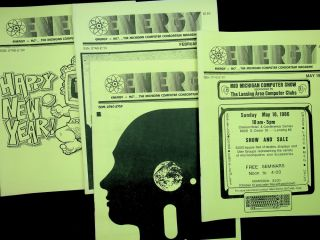 ENERGY: Energy = MC2 ... The Michigan Computer consortium Magazine - a substantial but incomplete run of 45 issues from Oct 1983 through May 1988