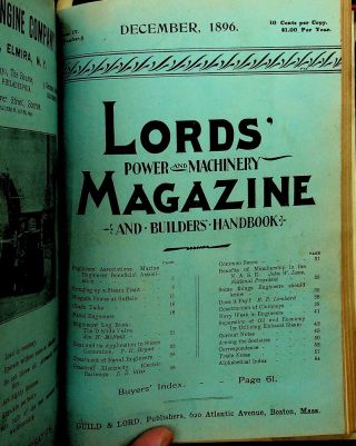 LORD'S POWER AND MACHINERY MAGAZINE AND BUILDERS' HANDBOOK [ 12 issues 1896 ]
