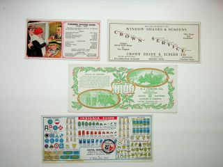[ephemera] A really fun group of blotters: Star-Spangled banner, Fanny Farmer, Crown Shade, Partridge Painters, Wrenn's Porcelain Blotting, Penn Leather, Tower waterproofing, Farmer's Savings Bank, Insignia Guide (many localities)