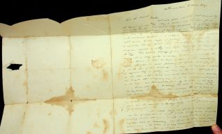 Stampless letter from Captain Osgood to Col Jonathan S. Wilcox 1837 - [Schooner Catherine Wilcox] in port for new mast on way to Mauritius