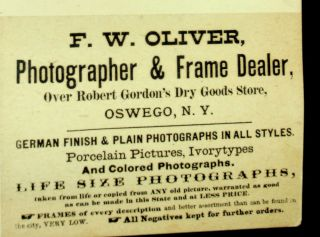 Albumen photograph of the ship OSWEGO BELLE with great photographer label on rear
