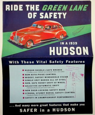 Ride the Green Lane of Safety in a 1939 HUDSON